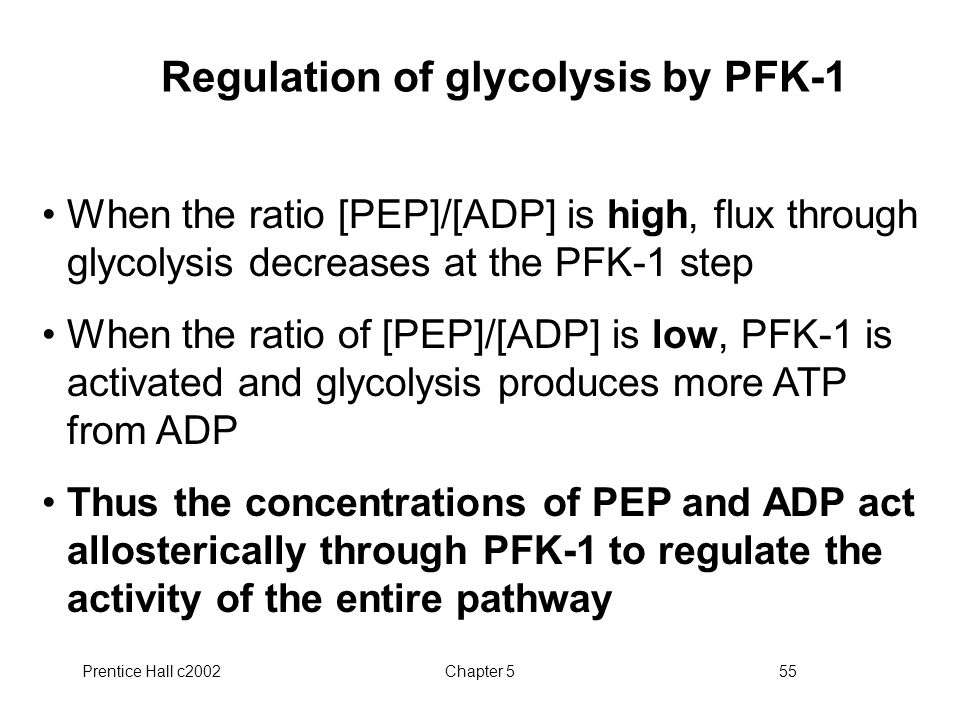 Prentice Hall c2002Chapter 555 Regulation of glycolysis by PFK-1 When the ratio [PEP]/[ADP] is high, flux through glycolysis decreases at the PFK-1 step When the ratio of [PEP]/[ADP] is low, PFK-1 is activated and glycolysis produces more ATP from ADP Thus the concentrations of PEP and ADP act allosterically through PFK-1 to regulate the activity of the entire pathway