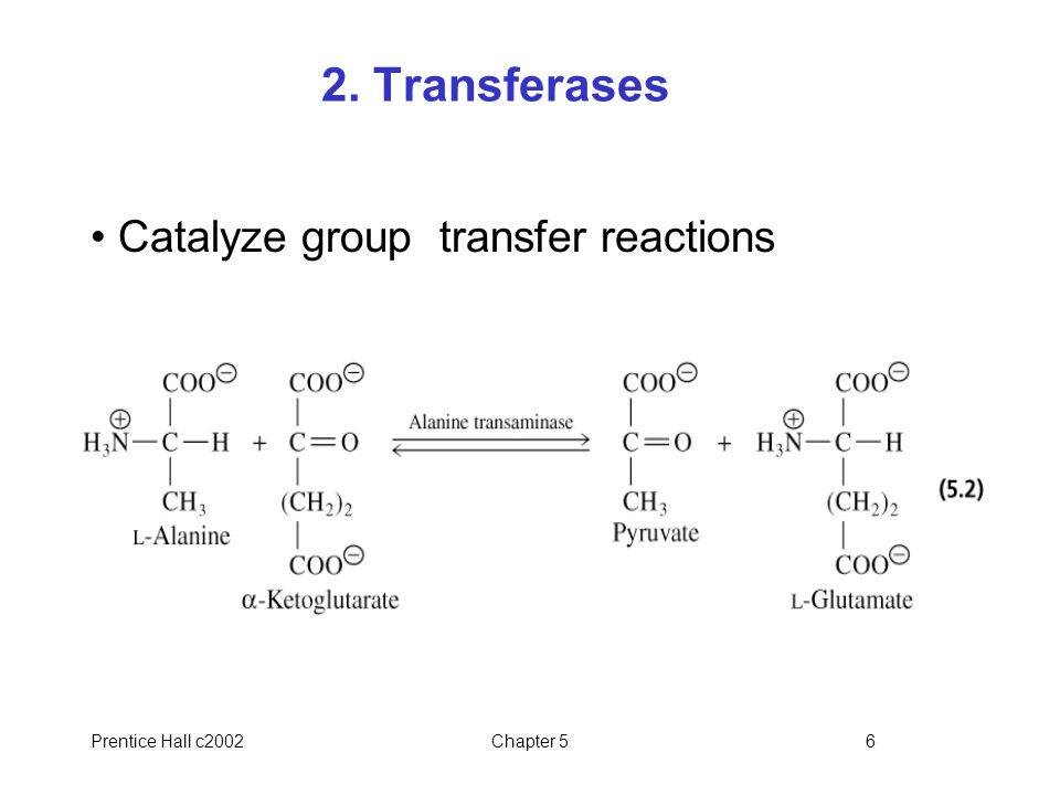 Prentice Hall c2002Chapter 527 Table 5.1 Examples of catalytic constants Enzymek cat (s -1 )