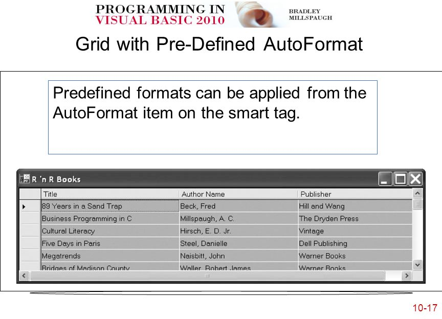 10-17 Grid with Pre-Defined AutoFormat Predefined formats can be applied from the AutoFormat item on the smart tag.
