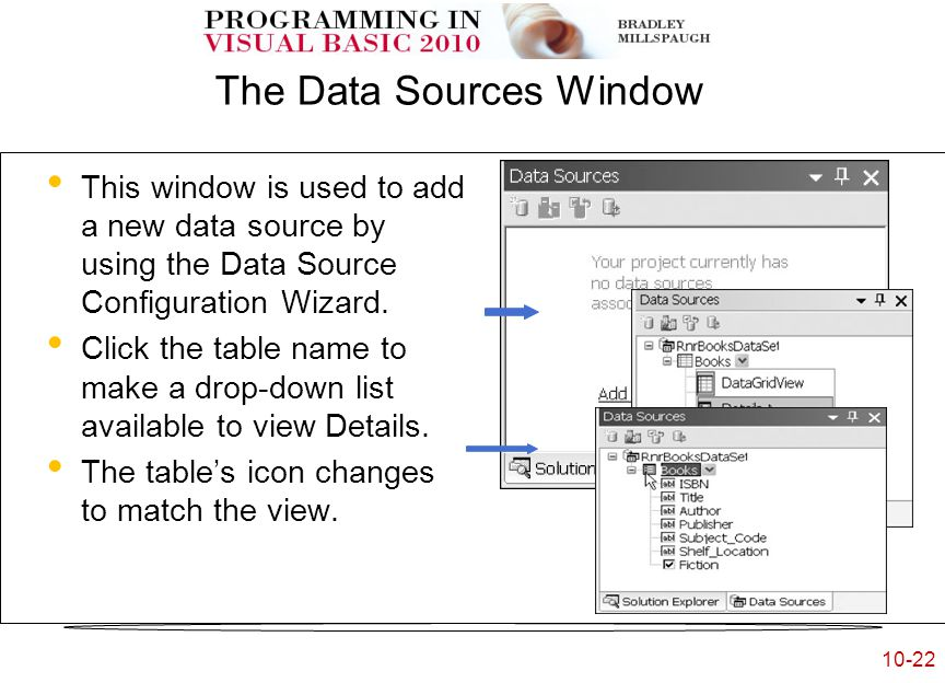 10-22 The Data Sources Window This window is used to add a new data source by using the Data Source Configuration Wizard.