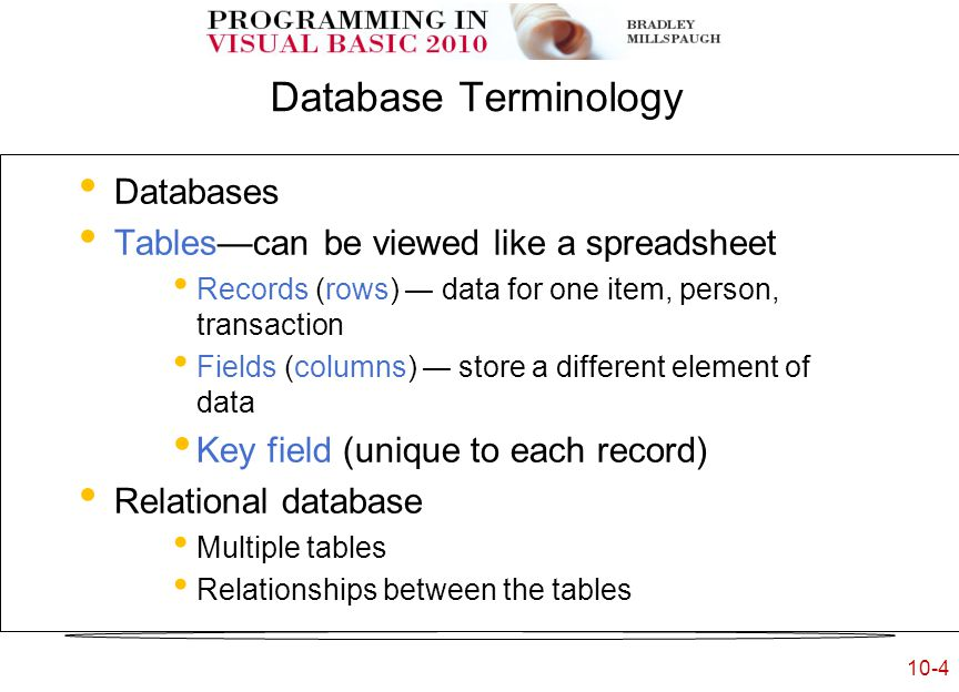Chapter 10 Database Applications Copyright © 2011 by The McGraw-Hill Companies, Inc.