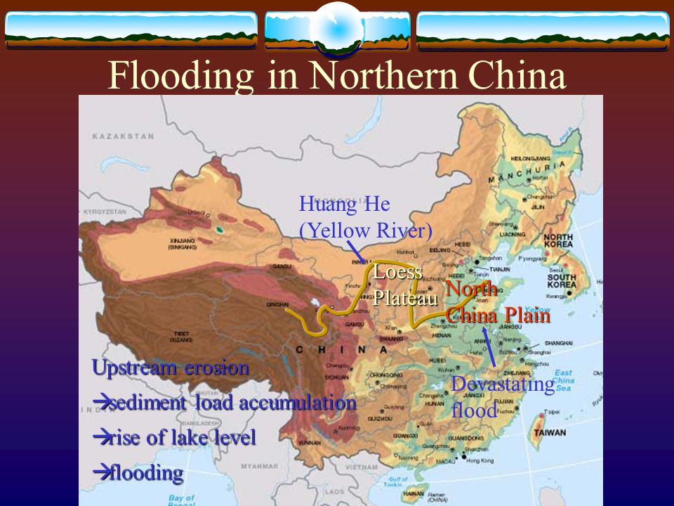 Flooding in Northern China Huang He (Yellow River) North China Plain Loess Plateau Devastating flood Upstream erosion  sediment load accumulation  rise of lake level  flooding