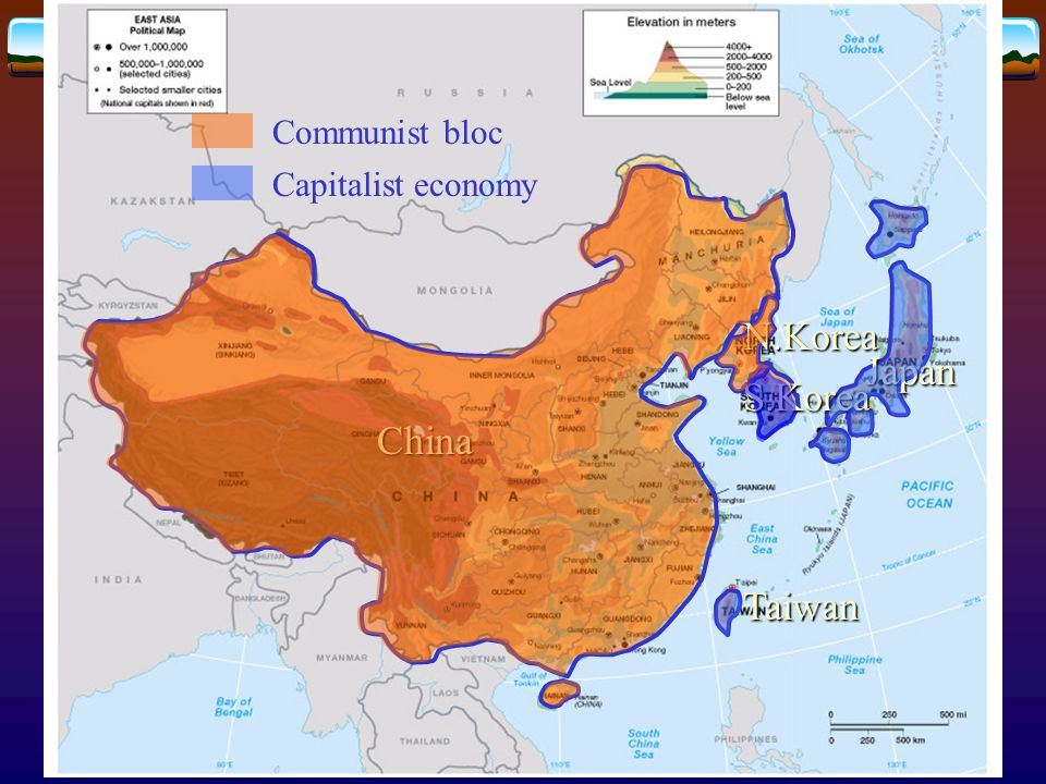 Major cities in East Asia  China  Shanghai: economic center  Beijing: political center  Seoul (South Korea), Taipei (Taiwan)  Characterized by urban primacy  Japanese cities  Characterized by superconurbation