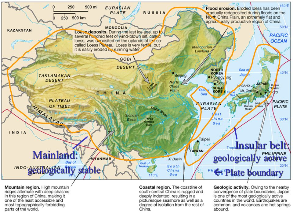 Japan's physical environment 85% mountain Limited areas of alluvial plains Prone to earthquake, volcano
