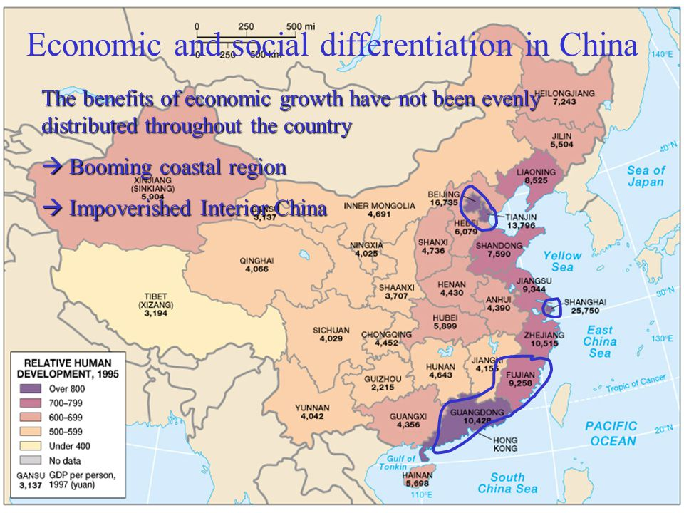 Economic and social differentiation in China The benefits of economic growth have not been evenly distributed throughout the country  Booming coastal region  Impoverished Interior China