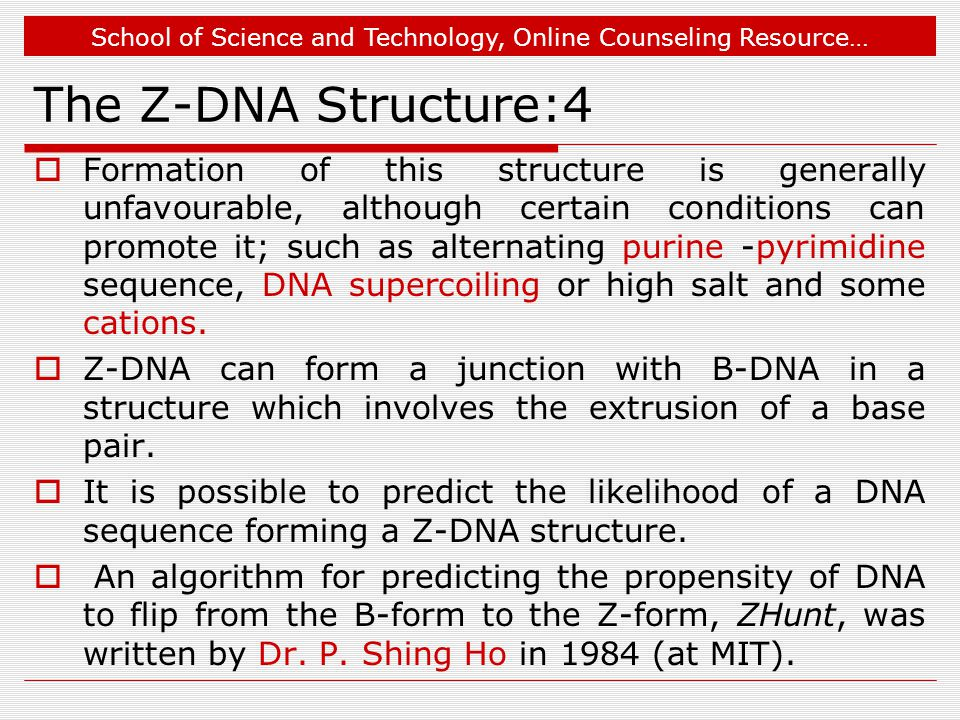 School of Science and Technology, Online Counseling Resource… The Z-DNA Structure:4  Formation of this structure is generally unfavourable, although certain conditions can promote it; such as alternating purine -pyrimidine sequence, DNA supercoiling or high salt and some cations.