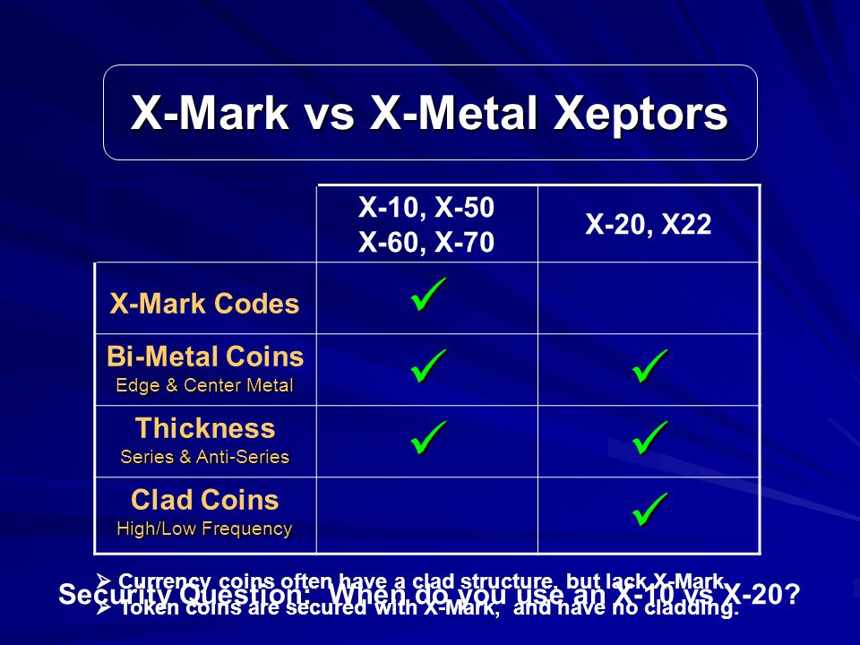 X-Mark vs X-Metal Xeptors X-10, X-50 X-60, X-70 X-20, X22 X-Mark Codes Edge & Center Metal Bi-Metal Coins Edge & Center Metal Series & Anti-Series Thickness Series & Anti-Series High/Low Frequency Clad Coins High/Low Frequency  Currency coins often have a clad structure, but lack X-Mark.