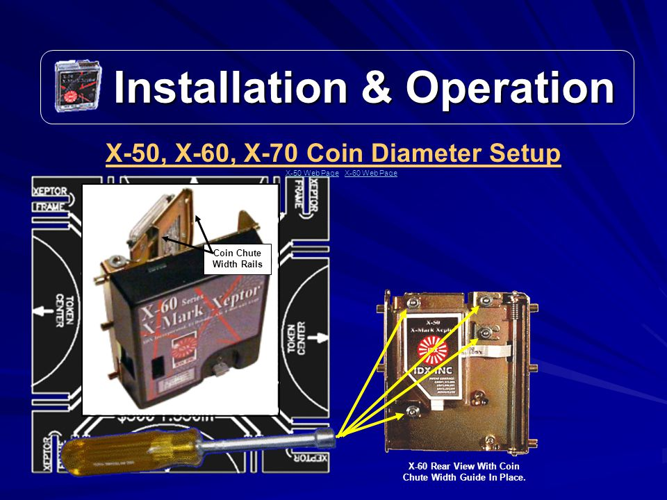 Coin Chute Width Rails Installation & Operation Installation & Operation X-50, X-60, X-70 Coin Diameter Setup X-60 Rear View With Coin Chute Width Guide In Place.