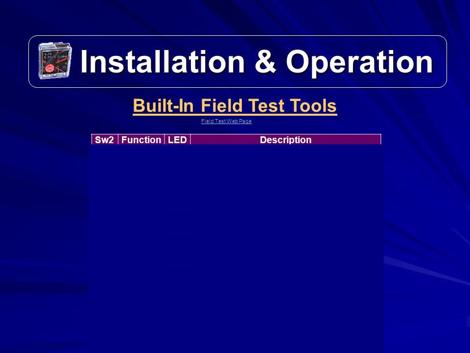 Installation & Operation Installation & Operation Built-In Field Test Tools Field Test Web Page Sw2FunctionLEDDescription 0Run Mode M NORMAL operation for coin acceptance.