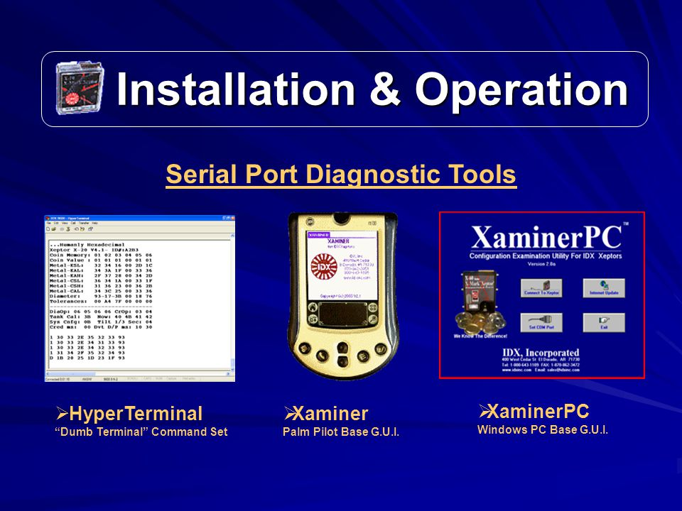 Installation & Operation Installation & Operation Serial Port Diagnostic Tools  HyperTerminal Dumb Terminal Command Set  Xaminer Palm Pilot Base G.U.I.
