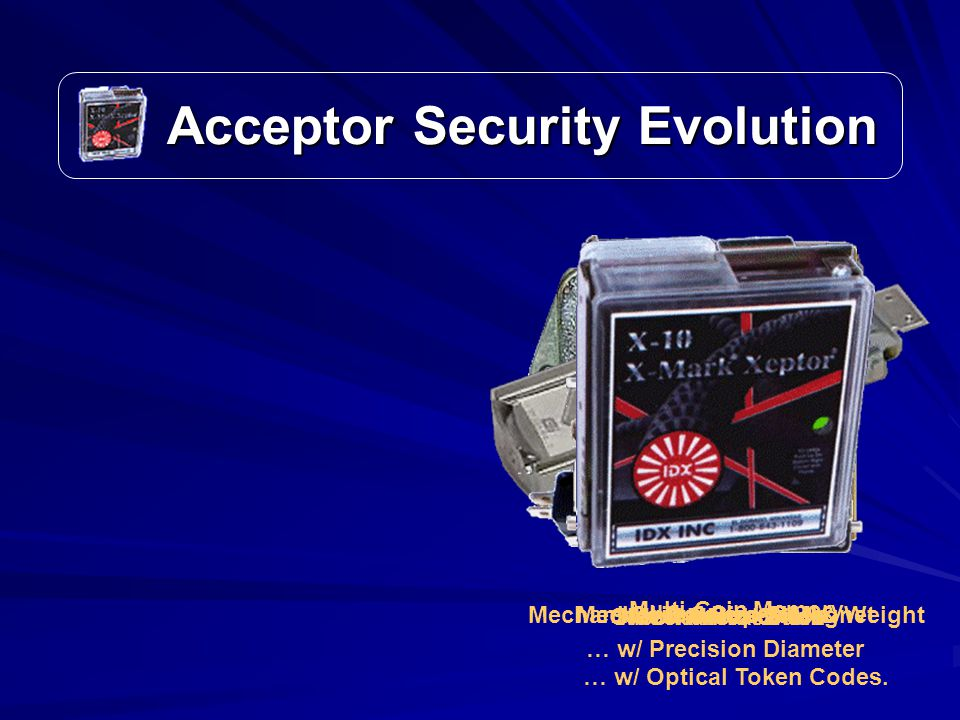 Acceptor Security Evolution Acceptor Security Evolution Mechanical CrankMechanical SlideSlot & Microswitch Mechanical Size & MagnetMechanical Cradle – Size & WeightCoin Comparison Multi-Coin Memory … w/ Precision Diameter … w/ Optical Token Codes.