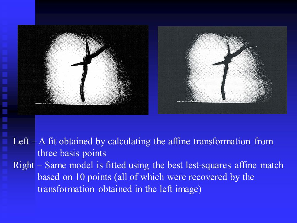 Left – A fit obtained by calculating the affine transformation from three basis points Right – Same model is fitted using the best lest-squares affine match based on 10 points (all of which were recovered by the transformation obtained in the left image)