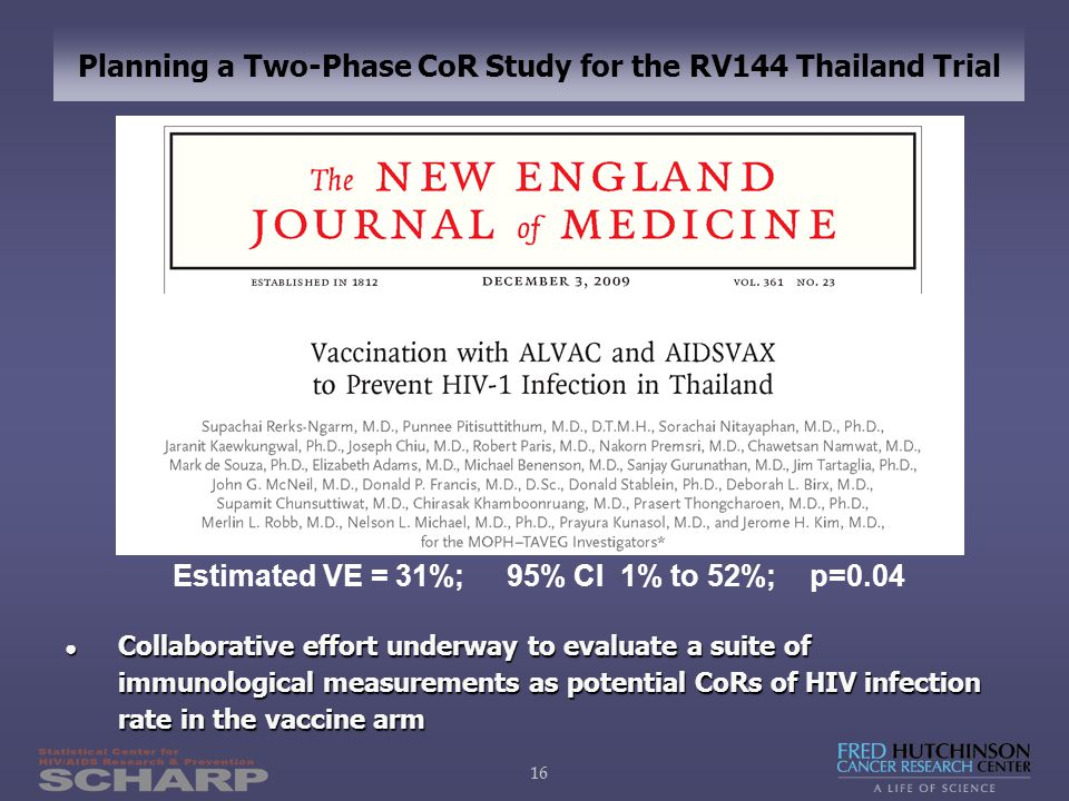 16 Planning a Two-Phase CoR Study for the RV144 Thailand Trial Estimated VE = 31%; 95% CI 1% to 52%; p=0.04 ● Collaborative effort underway to evaluate a suite of immunological measurements as potential CoRs of HIV infection rate in the vaccine arm