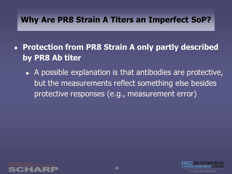 44 Why Are PR8 Strain A Titers an Imperfect SoP.