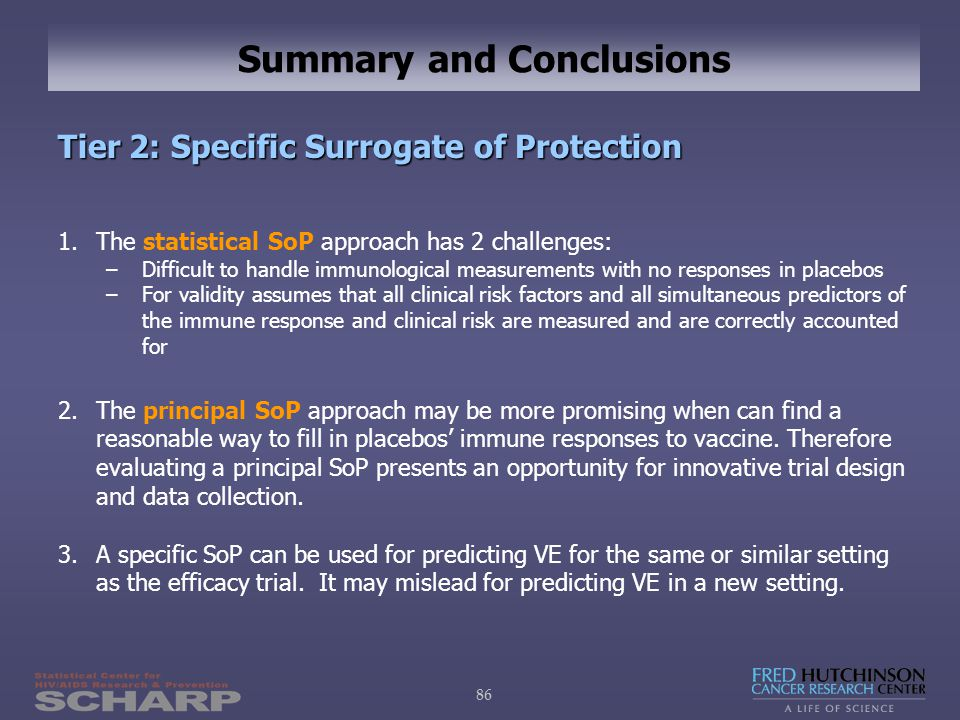 86 Summary and Conclusions Tier 2: Specific Surrogate of Protection 1.