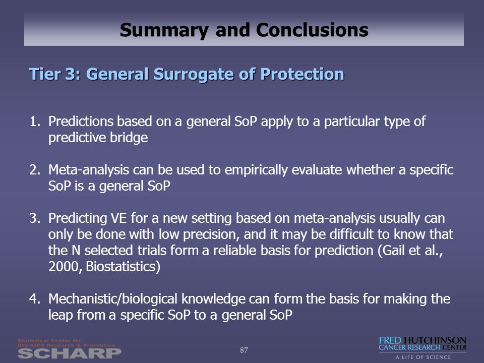 87 Summary and Conclusions Tier 3: General Surrogate of Protection 1.