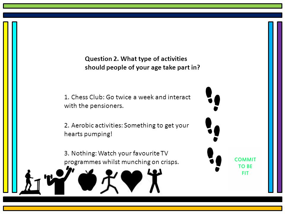 Question 2. What type of activities should people of your age take part in.