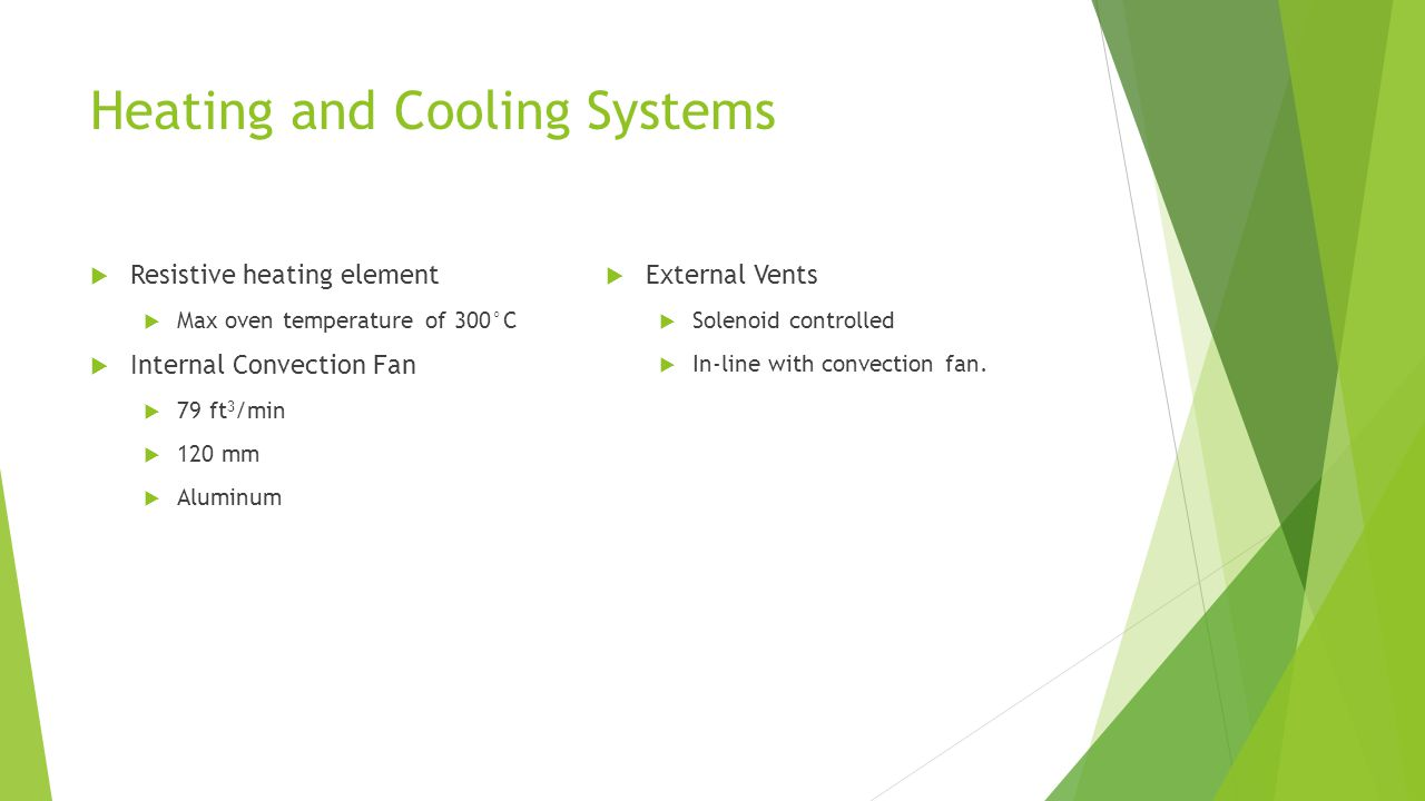 Heating and Cooling Systems  Resistive heating element  Max oven temperature of 300°C  Internal Convection Fan  79 ft 3 /min  120 mm  Aluminum  External Vents  Solenoid controlled  In-line with convection fan.