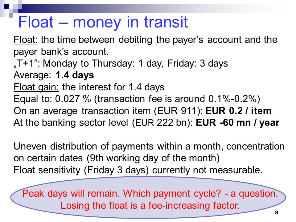 Float – money in transit 8 Float: the time between debiting the payer's account and the payer bank's account.