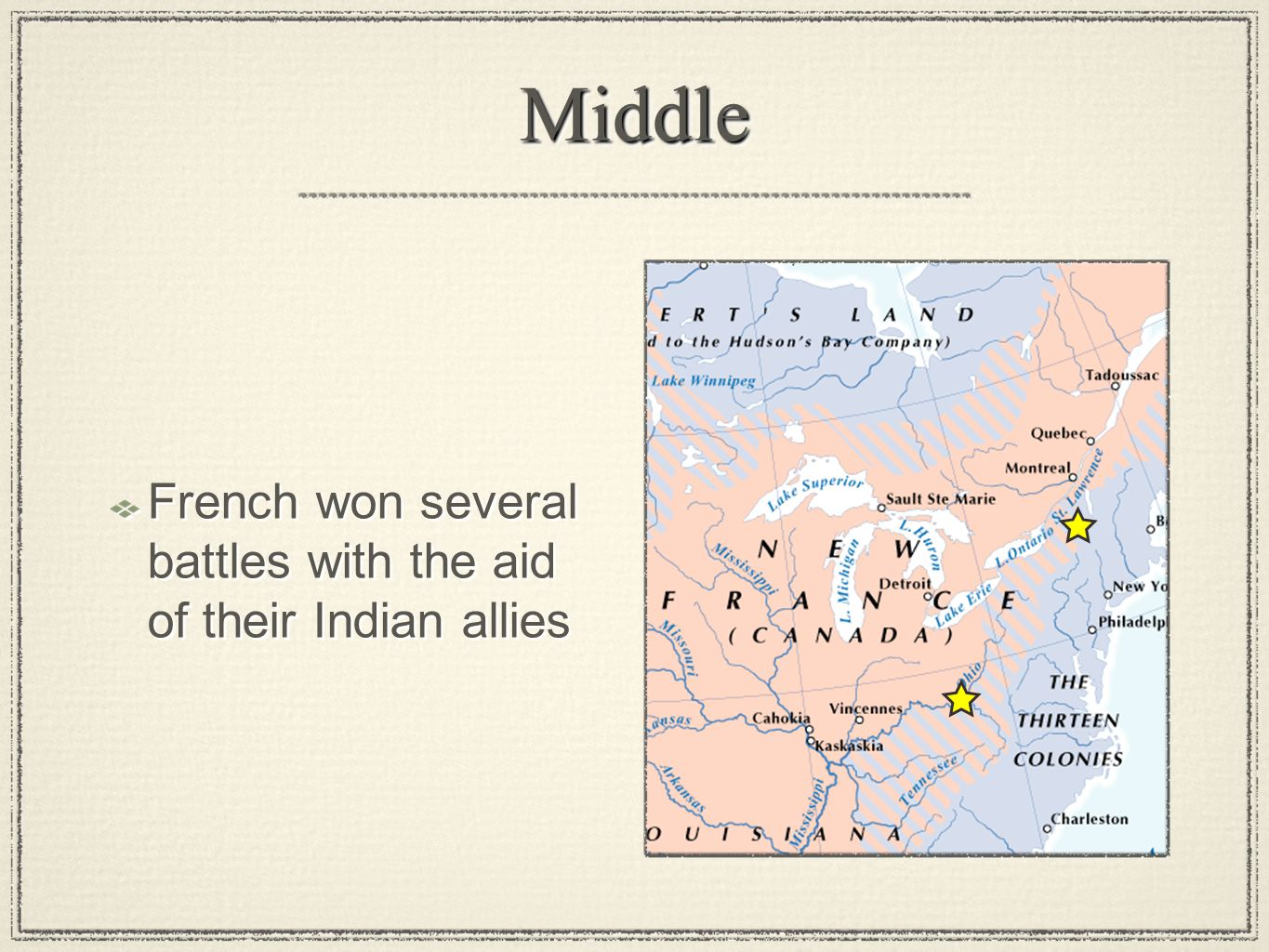 MiddleMiddle French won several battles with the aid of their Indian allies