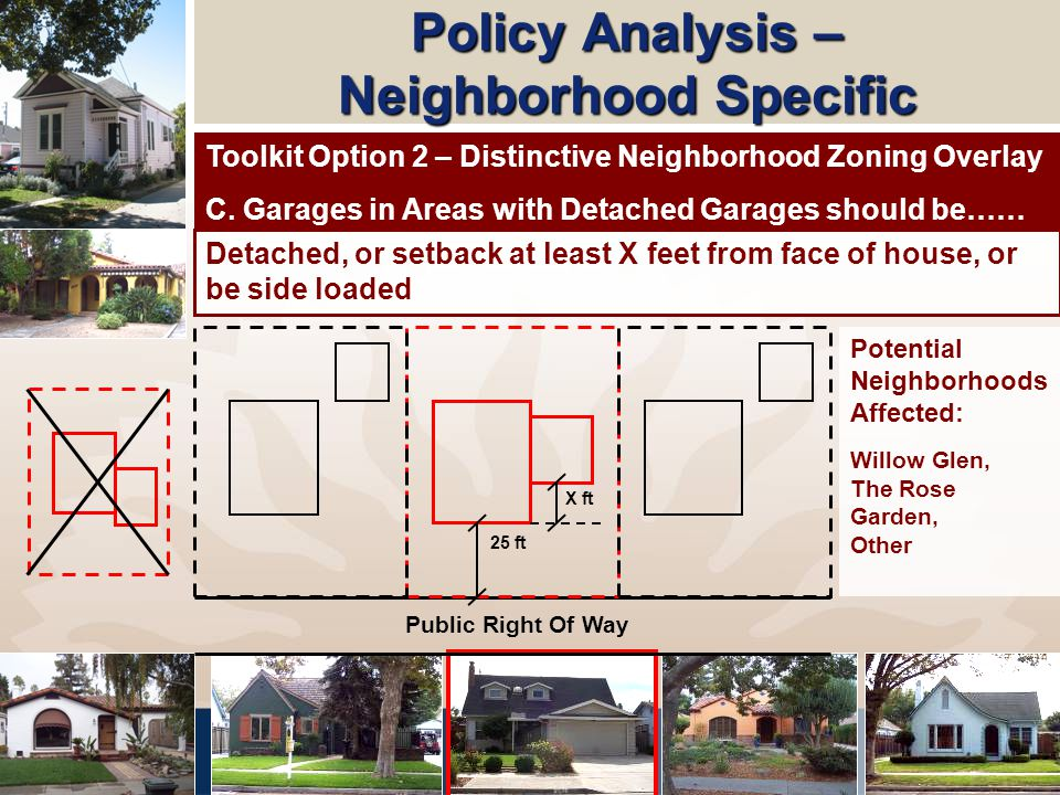 Policy Analysis – Neighborhood Specific 25 ft Public Right Of Way X ft Detached, or setback at least X feet from face of house, or be side loaded Toolkit Option 2 – Distinctive Neighborhood Zoning Overlay C.