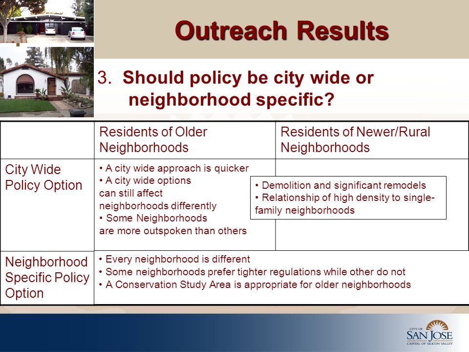 Outreach Results 3. Should policy be city wide or neighborhood specific.