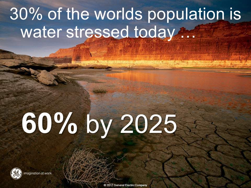20 Energy overview revised: 02/10/2012 60% by 2025 30% of the worlds population is water stressed today … © 2012 General Electric Company