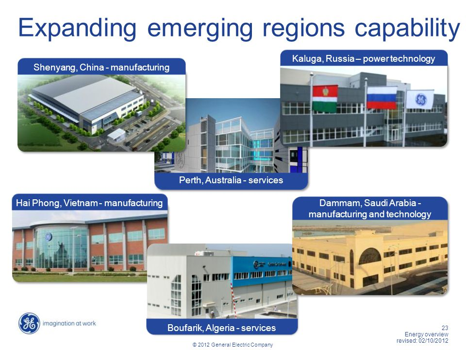 23 Energy overview revised: 02/10/2012 © 2012 General Electric Company Perth, Australia - services Expanding emerging regions capability Shenyang, Chi