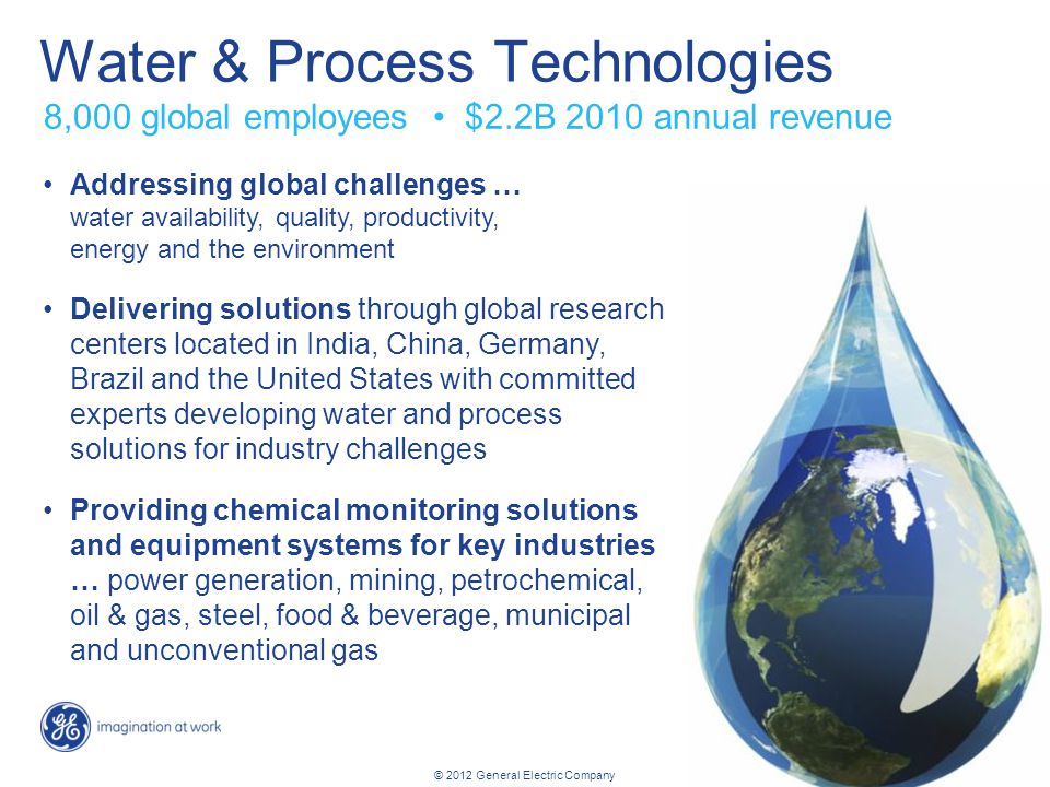 28 Energy overview revised: 02/10/2012 © 2012 General Electric Company Water & Process Technologies Addressing global challenges … water availability,