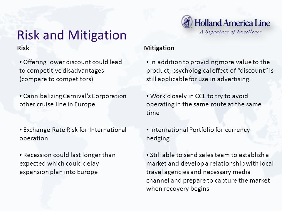 Risk and Mitigation RiskMitigation Offering lower discount could lead to competitive disadvantages (compare to competitors) Cannibalizing Carnival's Corporation other cruise line in Europe Exchange Rate Risk for International operation Recession could last longer than expected which could delay expansion plan into Europe In addition to providing more value to the product, psychological effect of discount is still applicable for use in advertising.