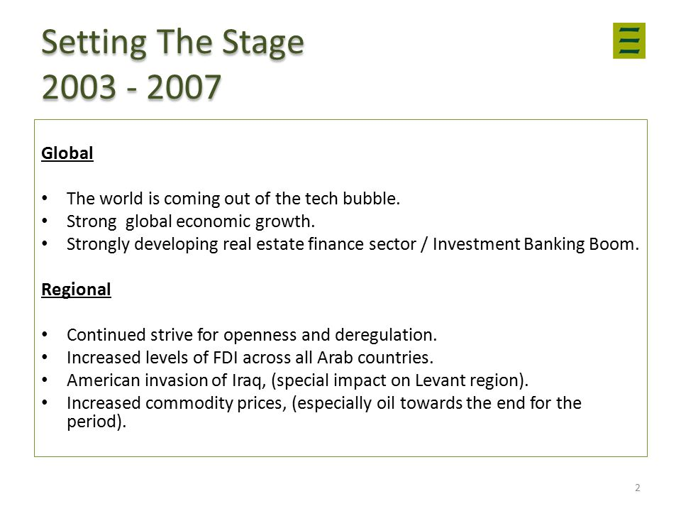 Setting The Stage 2003 - 2007 Global The world is coming out of the tech bubble.
