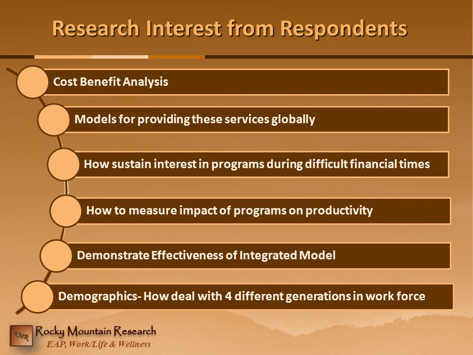 EAP, Work/Life & Wellness Research Interest from Respondents Cost Benefit AnalysisModels for providing these services globallyHow sustain interest in
