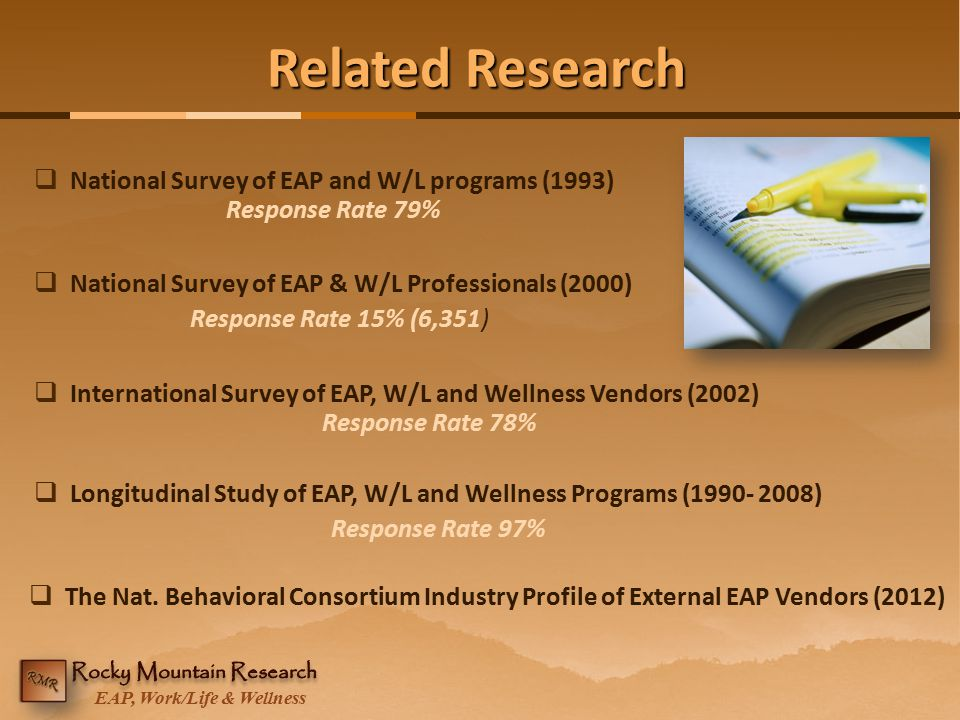 EAP, Work/Life & Wellness Related Research  National Survey of EAP and W/L programs (1993) Response Rate 79%  Longitudinal Study of EAP, W/L and Wel