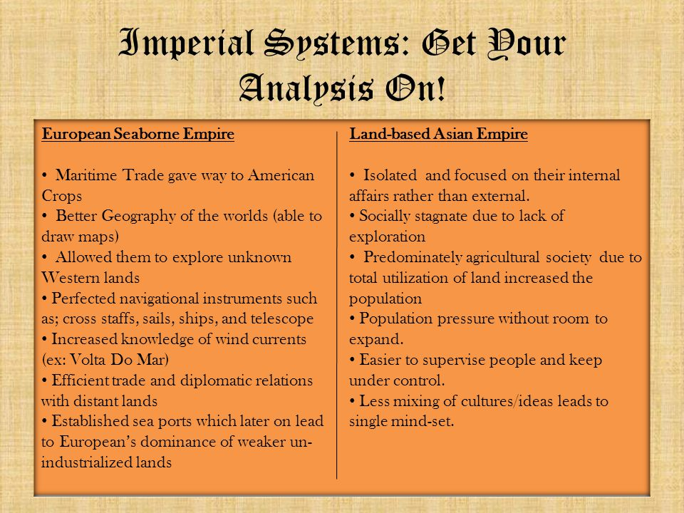 Imperial Systems: Get Your Analysis On!