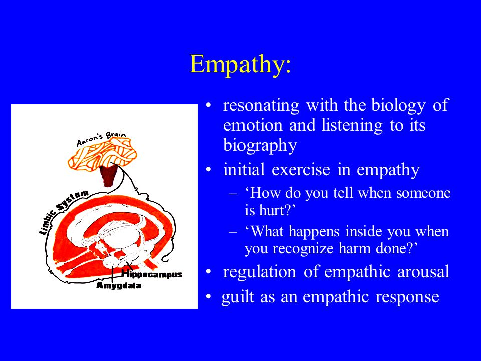 Empathy: resonating with the biology of emotion and listening to its biography initial exercise in empathy –'How do you tell when someone is hurt ' –'What happens inside you when you recognize harm done ' regulation of empathic arousal guilt as an empathic response