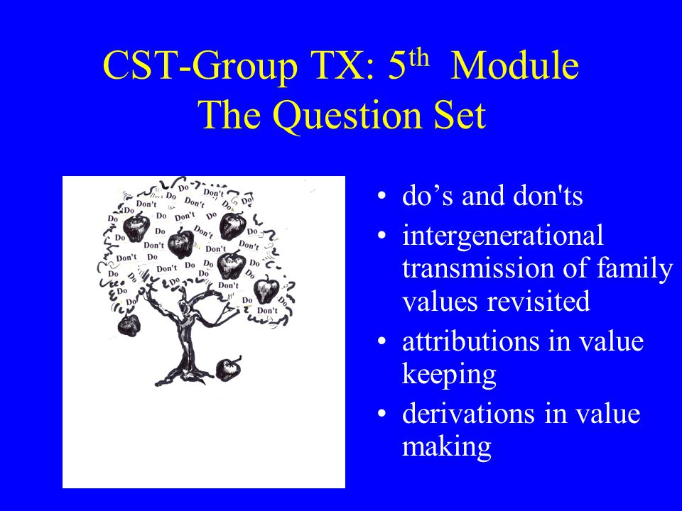 CST-Group TX: 5 th Module The Question Set do's and don ts intergenerational transmission of family values revisited attributions in value keeping derivations in value making