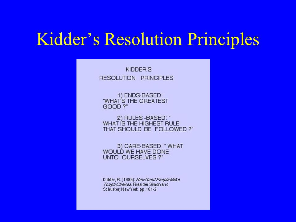 Kidder's Resolution Principles