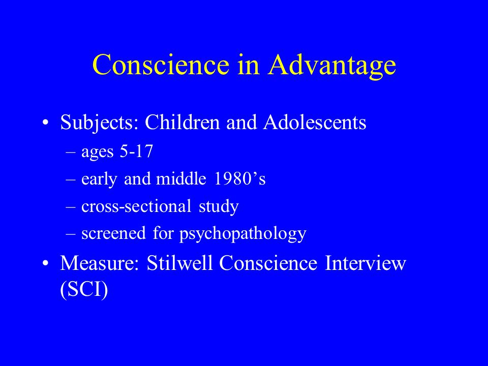 Conscience in Armenia Subjects: Youth Victims of Natural Catastrophe –Armen Goenjian et al.'s study of survivors of 1988 earthquake in Armenia –comparison of youth in Yerevan and Spitak Measures: included SCI structured version translated into Armenian Adolescents in Spitak showed –advanced development of conceptualization of conscience –many had marked pathological interference Goenjian et al.