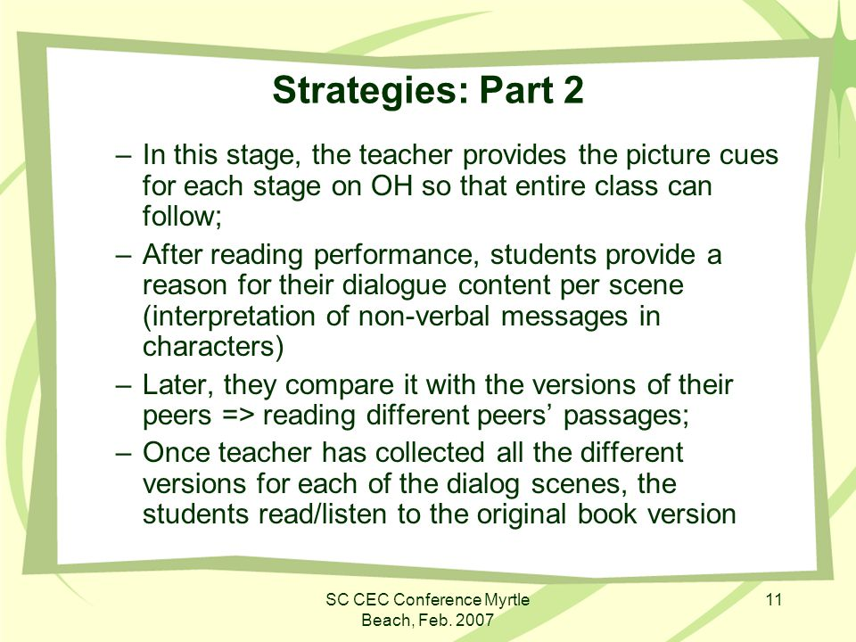 SC CEC Conference Myrtle Beach, Feb. 2007 11 Strategies: Part 2 –In this stage, the teacher provides the picture cues for each stage on OH so that ent