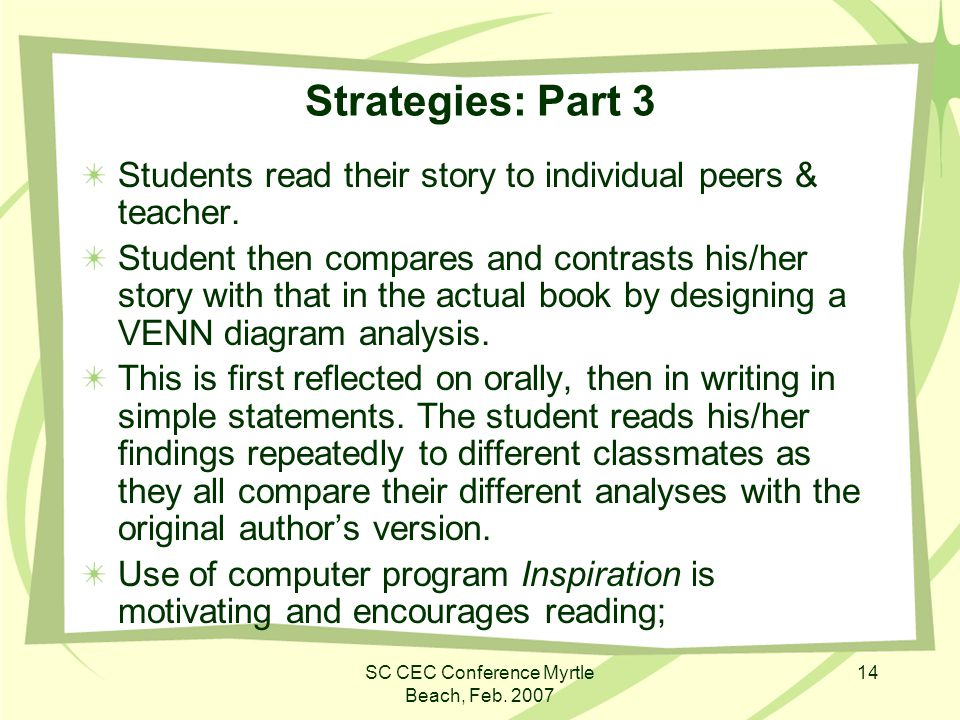 SC CEC Conference Myrtle Beach, Feb. 2007 14 Strategies: Part 3 Students read their story to individual peers & teacher. Student then compares and con