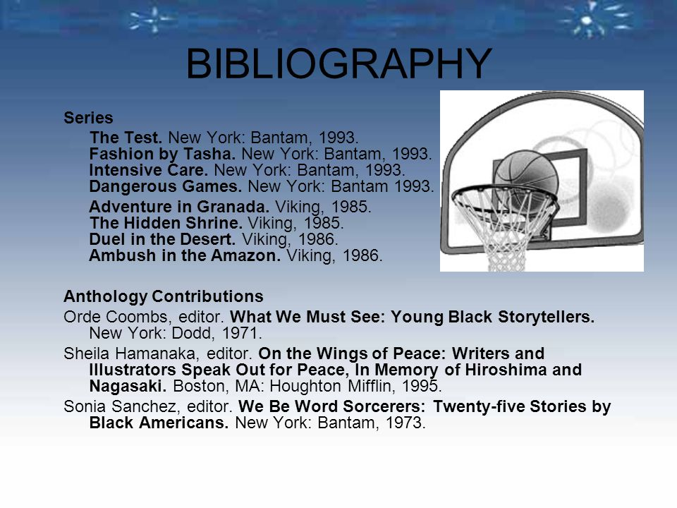 BIBLIOGRAPHY Series The Test. New York: Bantam, 1993.