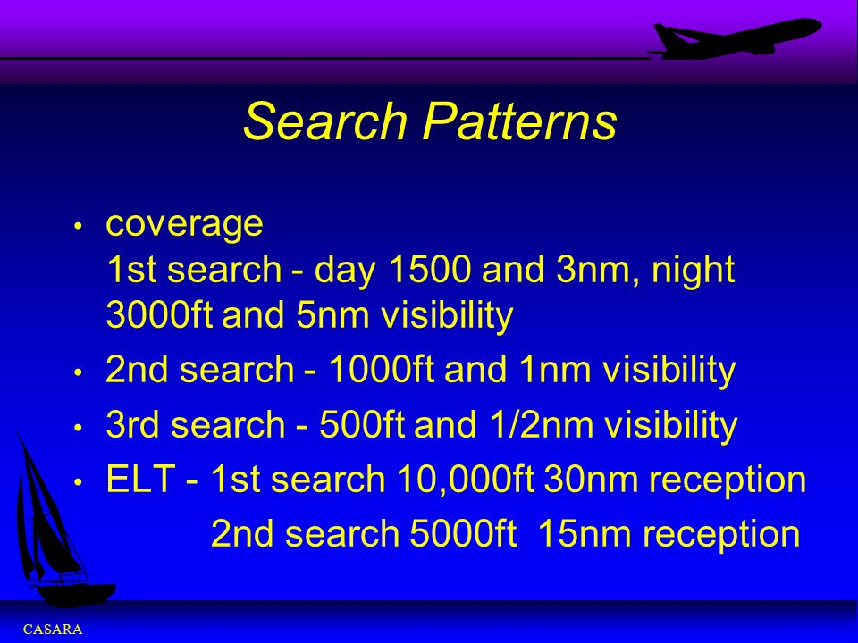 CASARA Search Patterns coverage 1st search - day 1500 and 3nm, night 3000ft and 5nm visibility 2nd search - 1000ft and 1nm visibility 3rd search - 500