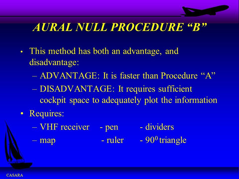 "CASARA AURAL NULL PROCEDURE ""B"" This method has both an advantage, and disadvantage: –ADVANTAGE: It is faster than Procedure ""A"" –DISADVANTAGE: It req"