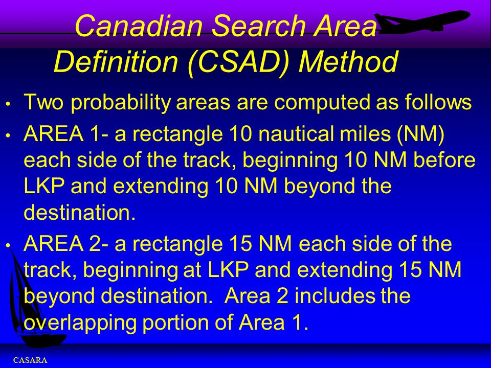 CASARA Canadian Search Area Definition (CSAD) Method Two probability areas are computed as follows AREA 1- a rectangle 10 nautical miles (NM) each sid