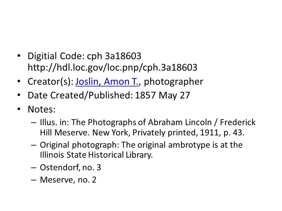 Digitial Code: cph 3a18603 http://hdl.loc.gov/loc.pnp/cph.3a18603 Creator(s): Joslin, Amon T., photographerJoslin, Amon T.