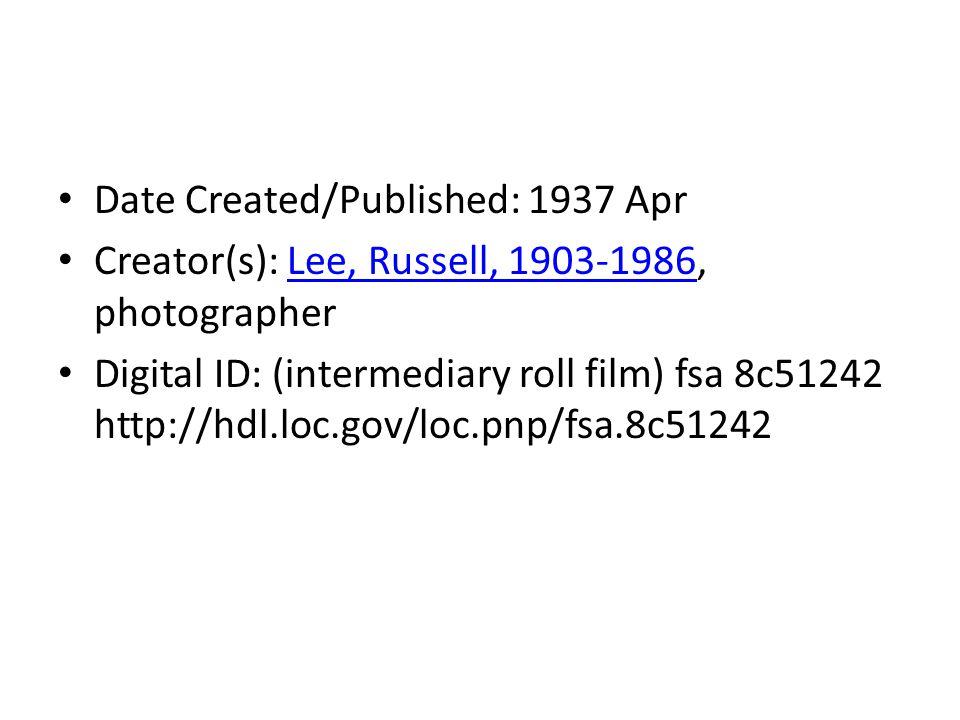 Date Created/Published: 1937 Apr Creator(s): Lee, Russell, 1903-1986, photographerLee, Russell, 1903-1986 Digital ID: (intermediary roll film) fsa 8c51242 http://hdl.loc.gov/loc.pnp/fsa.8c51242
