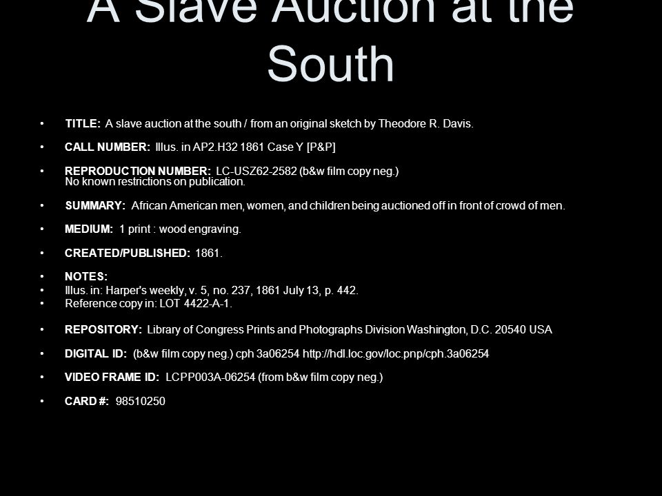 A Slave Auction at the South TITLE: A slave auction at the south / from an original sketch by Theodore R.