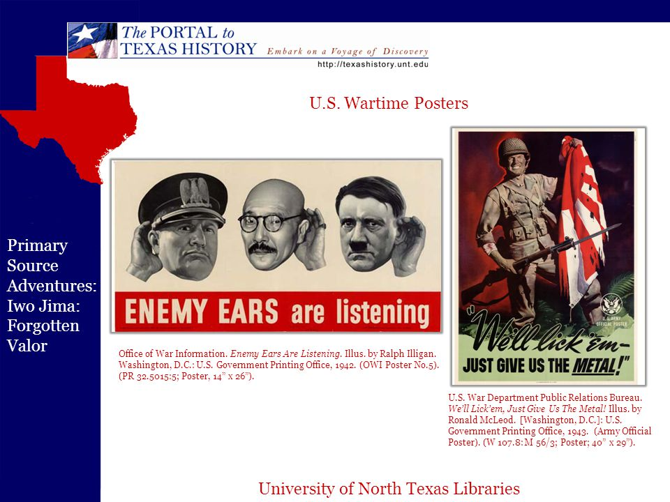 University of North Texas Libraries Primary Source Adventures: Iwo Jima: Forgotten Valor Office of War Information.