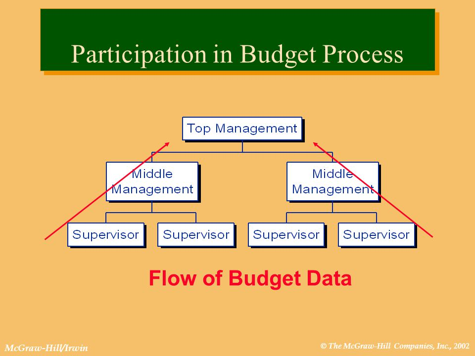 © The McGraw-Hill Companies, Inc., 2002 McGraw-Hill/Irwin Flow of Budget Data Participation in Budget Process