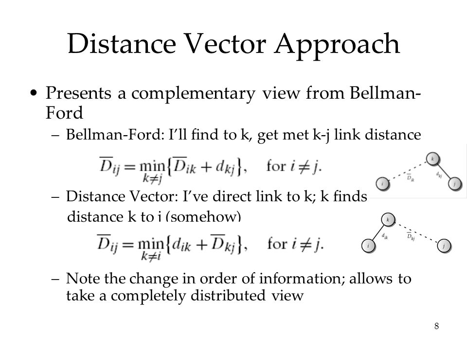8 Distance Vector Approach Presents a complementary view from Bellman- Ford –Bellman-Ford: I'll find to k, get met k-j link distance –Distance Vector: I've direct link to k; k finds distance k to j (somehow) –Note the change in order of information; allows to take a completely distributed view